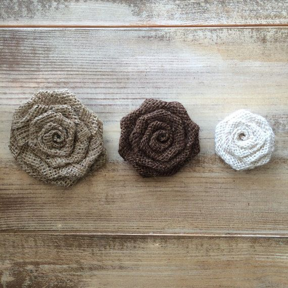 Set of 50 Burlap Rosettes-1.5 Small 3 Colors by theartsyhippie