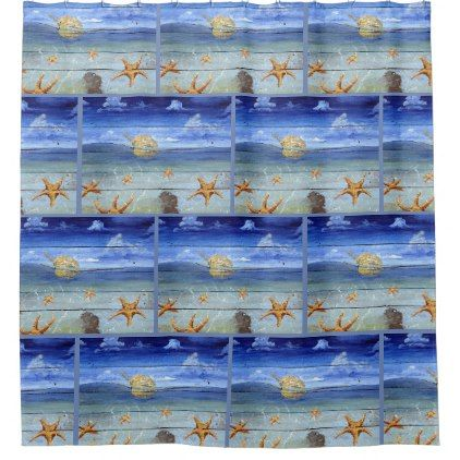 Starfish Sky Colorful Tropical Shower Curtain - shower gifts diy customize creative