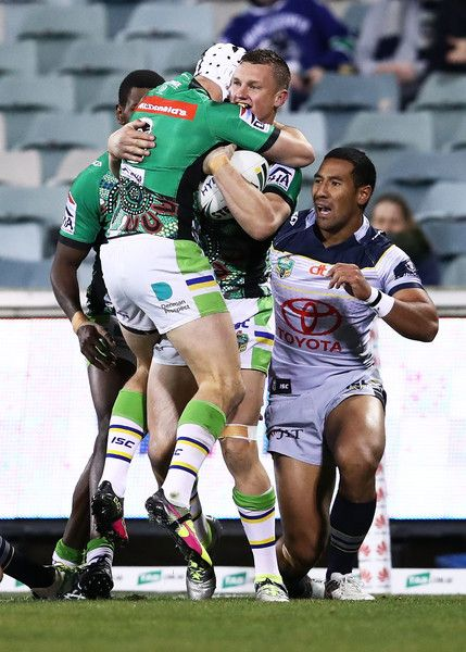 Jack Wighton of the Raiders celebrates after scoring the opening try during the round 18 NRL match between the Canberra Raiders and the North Queensland Cowboys at GIO Stadium on July 11, 2016 in Canberra, Australia.