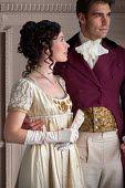Lee Avison young attractive regency couple indoors