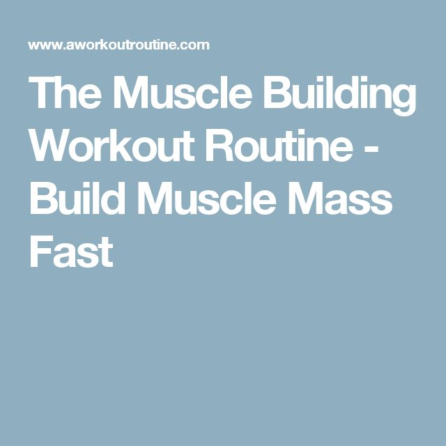 The Muscle Building Workout Routine - Build Muscle Mass Fast