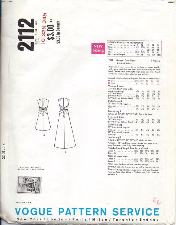 6bcdc444029b Vogue 2112 Vintage 1960s Vogue Couturier BELINDA BELLVILLE of London ...