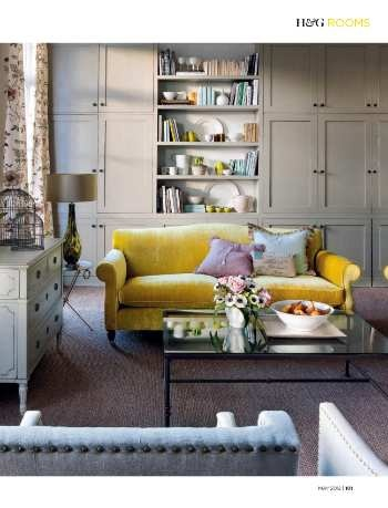 room homes gardens may 2012 page kent sofa by odd chair company shaker doors by just doors - Shaker Living Room Ideas