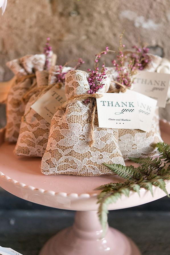 These adorable favor bags are the perfect blend of shabby and chic. The rustic burlap layered with the delicate fabric lace is the picture of romance. Whether filled with small sweets or savory snacks