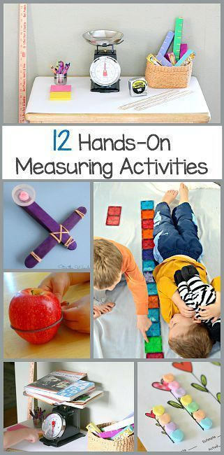 Math for Kids: 12 Hands-on Measuring Activities for preschool, kindergarten, and first grades including activities using magna tiles, popsicle sticks, candy, and more!