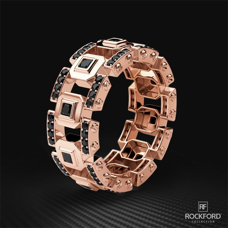 #BlackandGold Rose Gold Temptations by Rockford Collection. La Paz Solid Rose Gold Ring with Black Diamonds SHOP at www.rockfordcollection.com Worldwide Shipping.