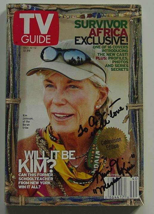 tv guides Survivor africa covers | Kim Johnson Survivor Signed TV Guide For Sale