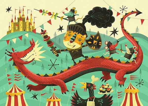 Knights v Dragons - Kids jigsaw puzzle illustration