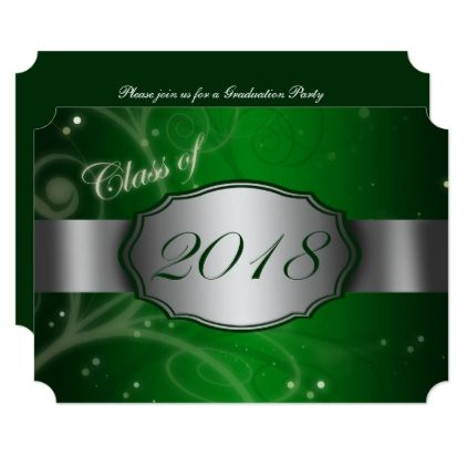 Green Silver 2018 Graduation Party Invitations Rsvp Gifts Card
