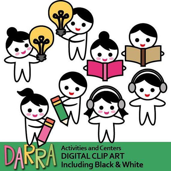 Activities clipart / kids think read write listen /