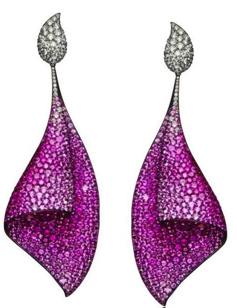 AdlerSail Earrings. Adler  73 carats of pink sapphires and 7 carats of diamonds  Titanium has been anodized to highlight the pink sapphires