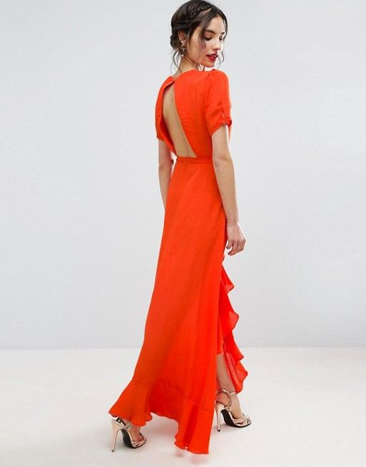 ASOS Orange crossbody gown with open back and chiffon ruffles. I want.
