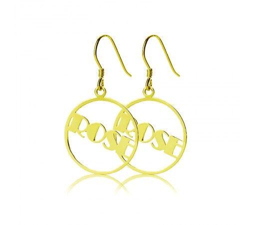 Broadway Script Hoop Name Earrings in Solid Yellow Gold