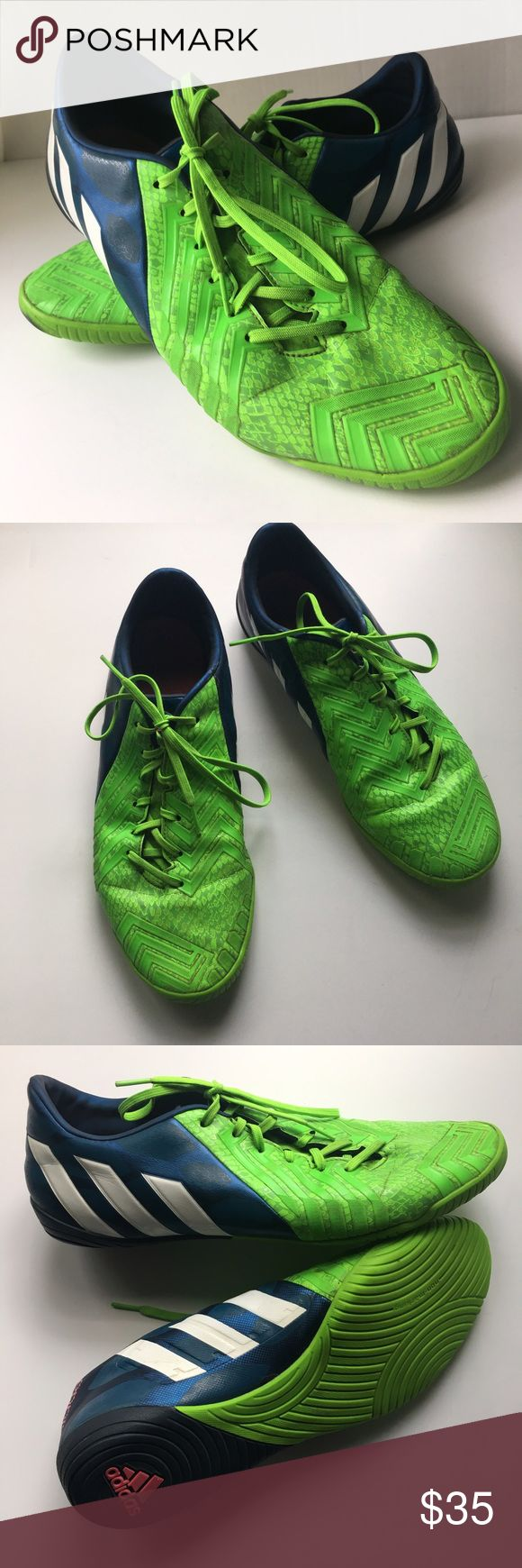 Adidas // Predator Absolado Instinct Sneakers Green, blue, and white Predator Absolado instinct Sneakers from Adidas. Textured soles for indoor courts. Bright green toes and laces. Dark blue heels with white adidas stripes. Have been worn, in great condition. Adidas Shoes Athletic Shoes
