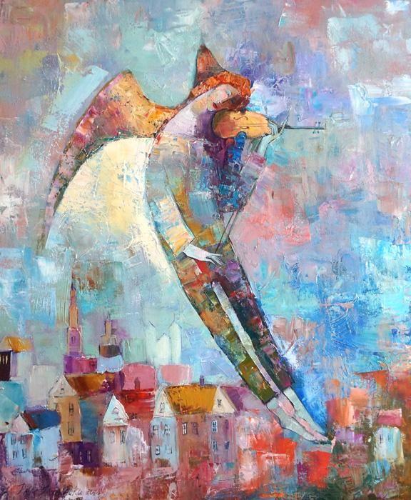 ANNA ART_ANIOŁ NAD MIASTEM_PITCO obraz,ikona - 5116814980 - oficjalne archiwum allegro
