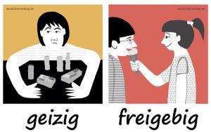 geizig_freigebig_Adjektive_Gegensatzpaare_deutschlernerblog