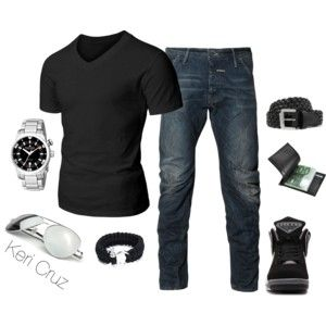 Men's Casual- perfect v neck t and jeans.