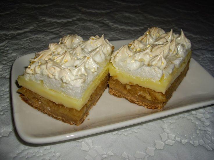 Prajitura cu mere,bezea si crema de vanilie