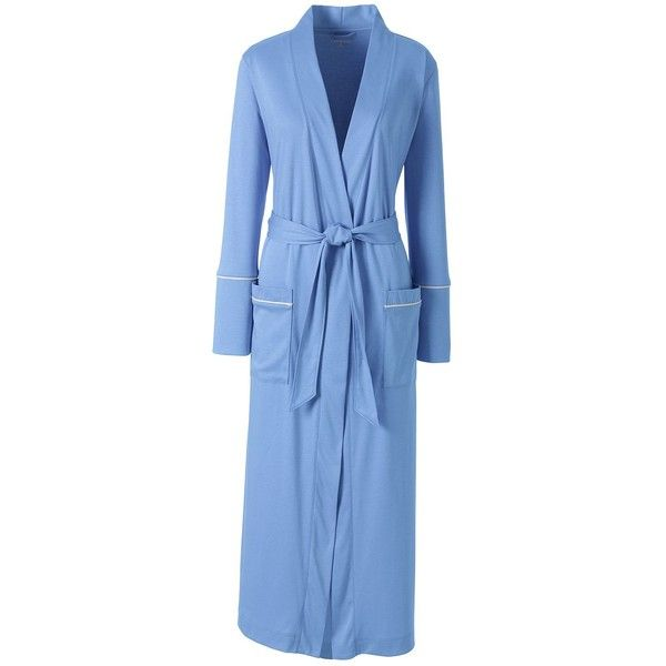Lands' End Women's Petite Supima Bracelet Sleeve Midcalf Robe ($65) ❤ liked on Polyvore featuring intimates, robes, blue, petite bathrobes, petite robe, blue bathrobe, cotton bath robe and dressing gown