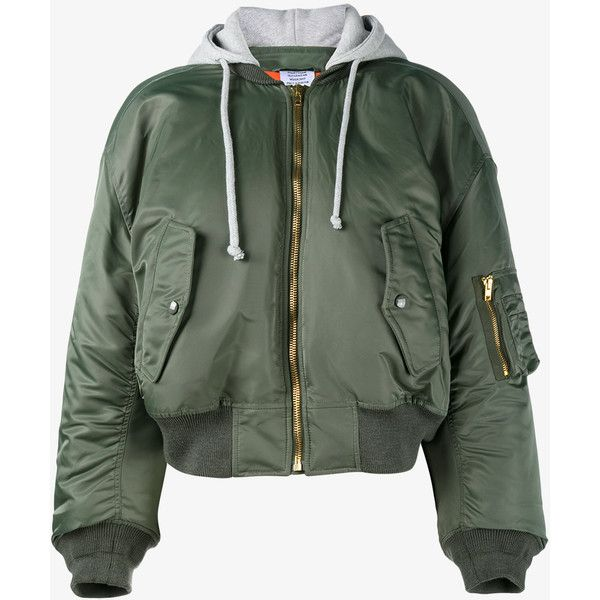 VETEMENTS Bomber Jacket with Orange Lining (€1.485) ❤ liked on Polyvore featuring outerwear, jackets, flight jacket, blouson jacket, bomber jacket, summer bomber jacket and green jacket
