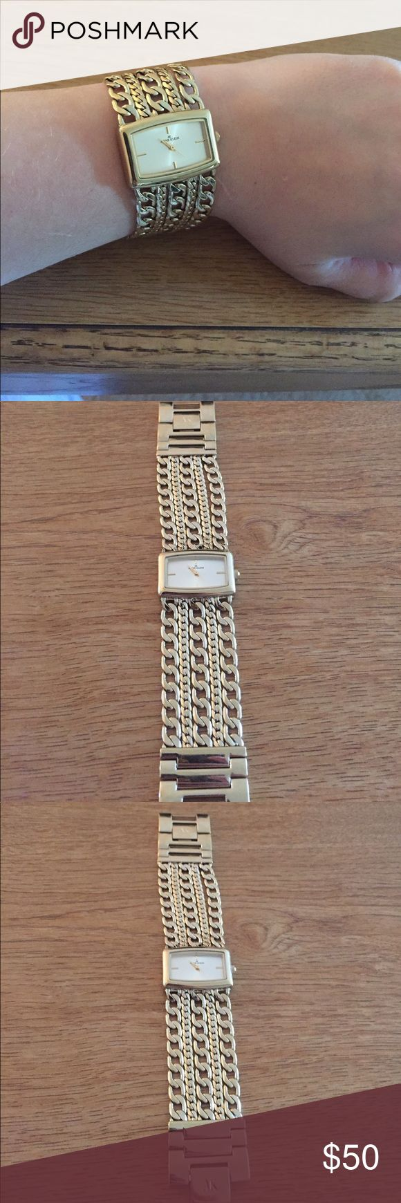 Anne Klein Gold Wrist Watch Gold braided band. No scratches or wear marks. Rectangular face with second hand. Anne Klein Accessories Watches