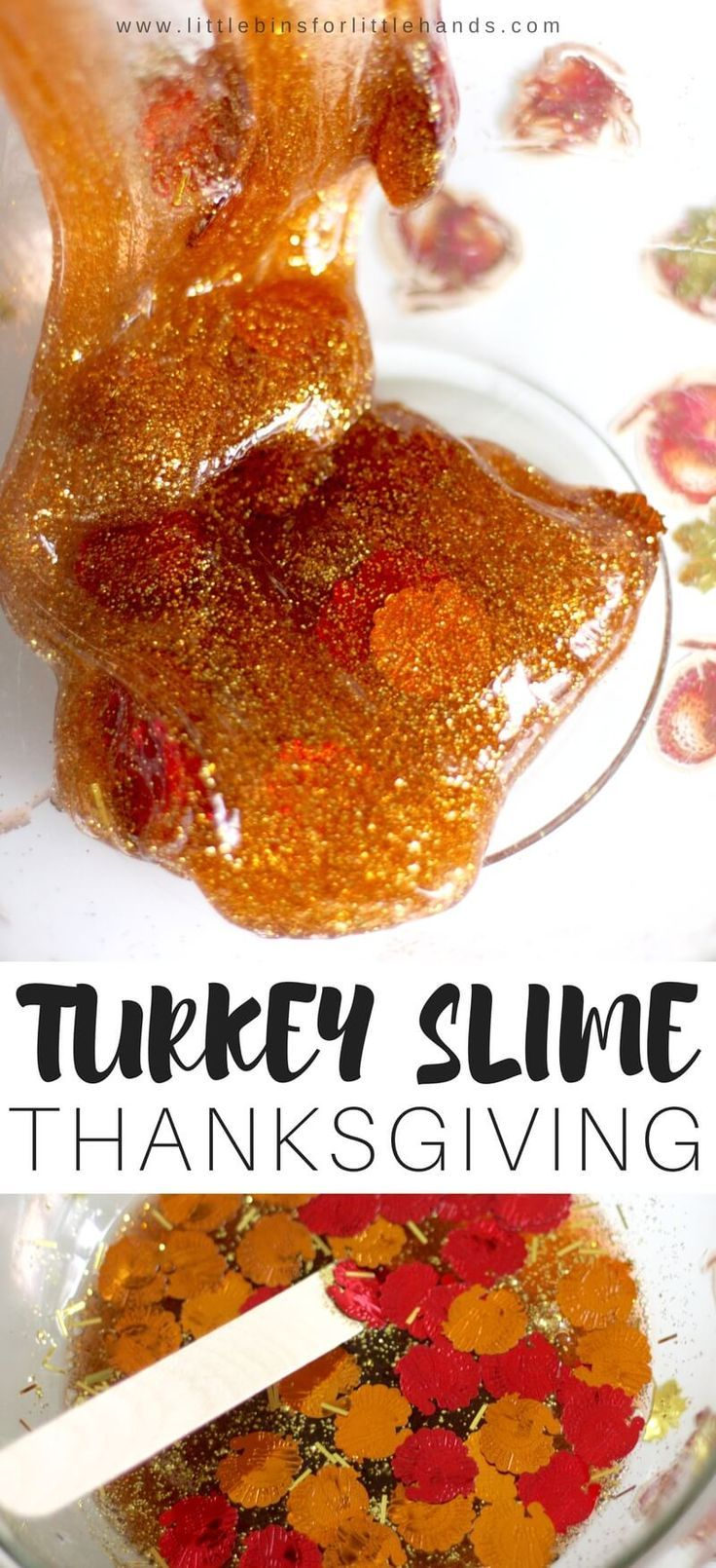 Totally turkey Thanksgiving slime recipe with turkey confetti! Use our basic homemade slime recipes to make a turkey themed Thanksgiving slime that isn't gravy. Have fun with this Thanksgiving science activity and sensory play idea this fall! You can use our homemade saline solution slime recipe, liquid starch slime recipe, or borax slime recipe for making fun and festive holiday slime ideas any day of the year!