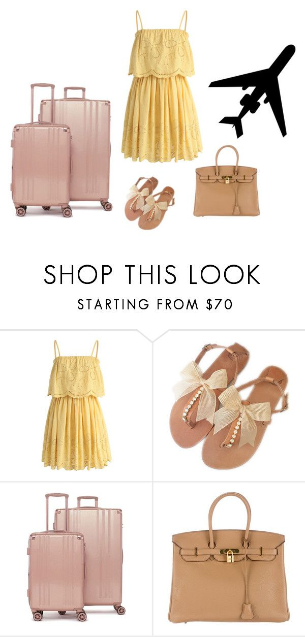 """""""Airport style"""" by monika1555 on Polyvore featuring Chicwish, CalPak and Hermès"""