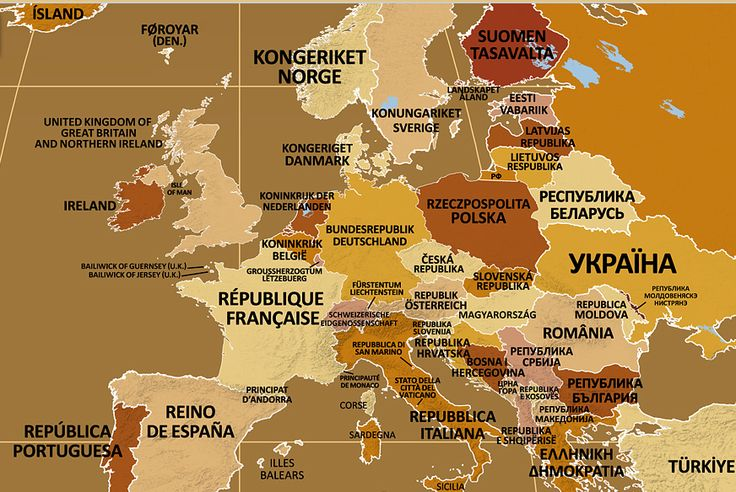 Names of European Countries in their Local Languages.Endonym Map: World Map of Country Names in Their Local Languages >>