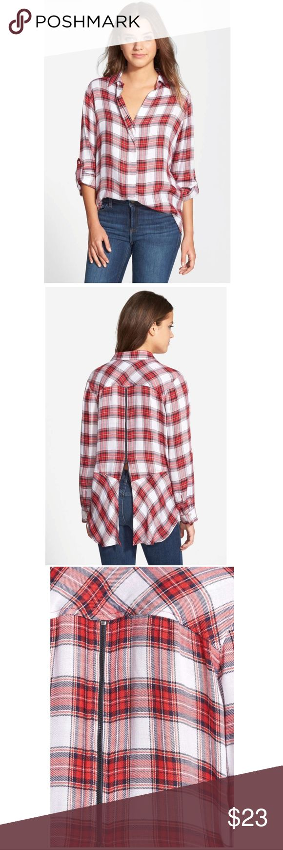 EUC Sam Edelman zip-back plaid shirt sz XS Sam Edelman plaid top with split hem zippered back, size XS.  Very good condition, only worn and washed a few times!  No holes or stains. The material is very soft & delicate and there are a few picks as shown in pictures, but they are all small. (Last 4 pics are actual top for sale, 1st 3 are stock.)  From Nordstrom, highly rated top, currently sold out. Sam Edelman Tops
