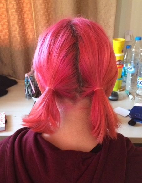 Short pink hair cute pigtails hairstyle