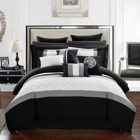 keira 16piece bed in a bag king comforter set by chic home black