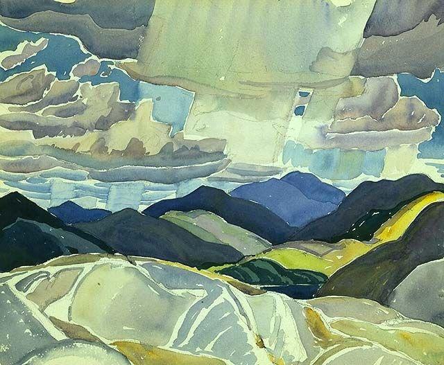 """""""La Cloche Landscape,"""" Frank Carmichael, ca. 1930-1935, watercolor over graphite…"""