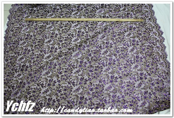 Approx $17 per metre. Deep purple embroidered gauze embroidered sequins gold thread lace cheongsam show clothing DIY fabric fabrics - Taobao