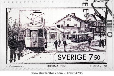 SWEDEN - CIRCA 1995: A stamp printed by SWEDEN shows view of Kiruna at 1958. Kiruna is the northernmost town in Sweden, situated in the province of Lapland, circa 1995.