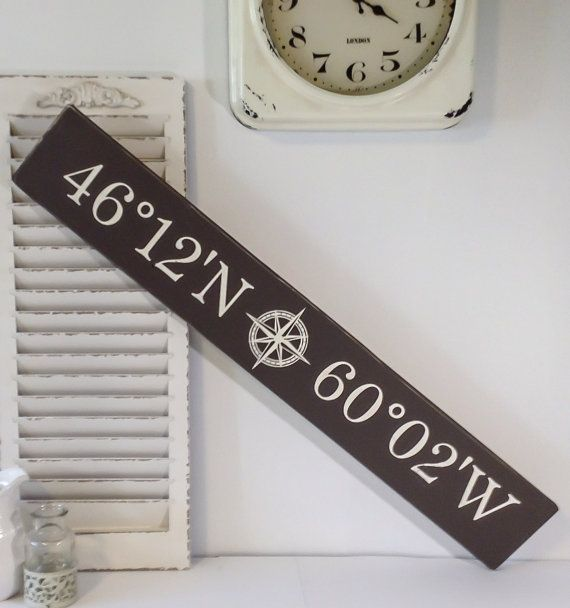 latitude longitude, Personalized Latitude Longitude Wood Sign With Nautical Compass, Hand Crafted Custom Wooden Rustic Decor
