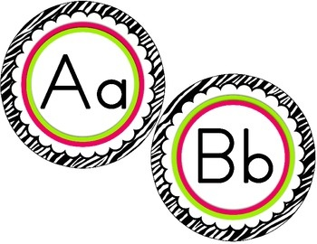 Word Wall Letter Round Labels: Pink  Green Scalloped Zebra Print