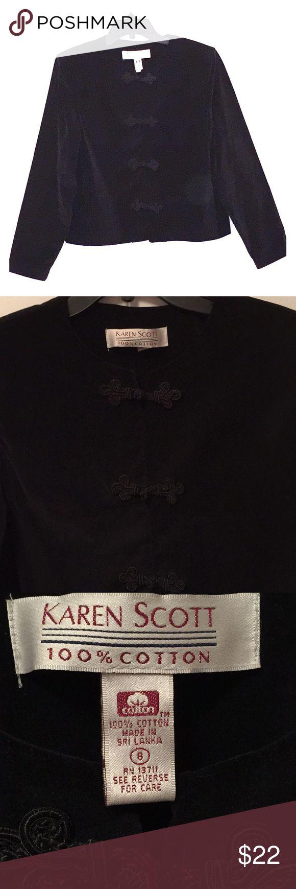 Karen Scott Jacket Velveteen black jackets. Size 8. Armpit to armpit approximately 18 inches across. Length from shoulder to hem approximately 22 inches. Karen Scott Jackets & Coats