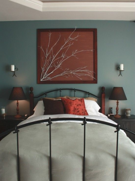romantic earthy mood teal and rust bedroom for the home 14234 | f2ef1ad0cc400e8ee0e9387b4849064e