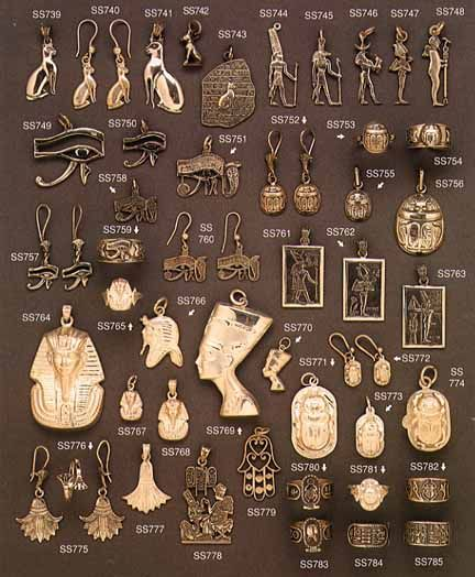 Charms representing Egyptian heritage of unobtainable riches and unsearchable wealth.