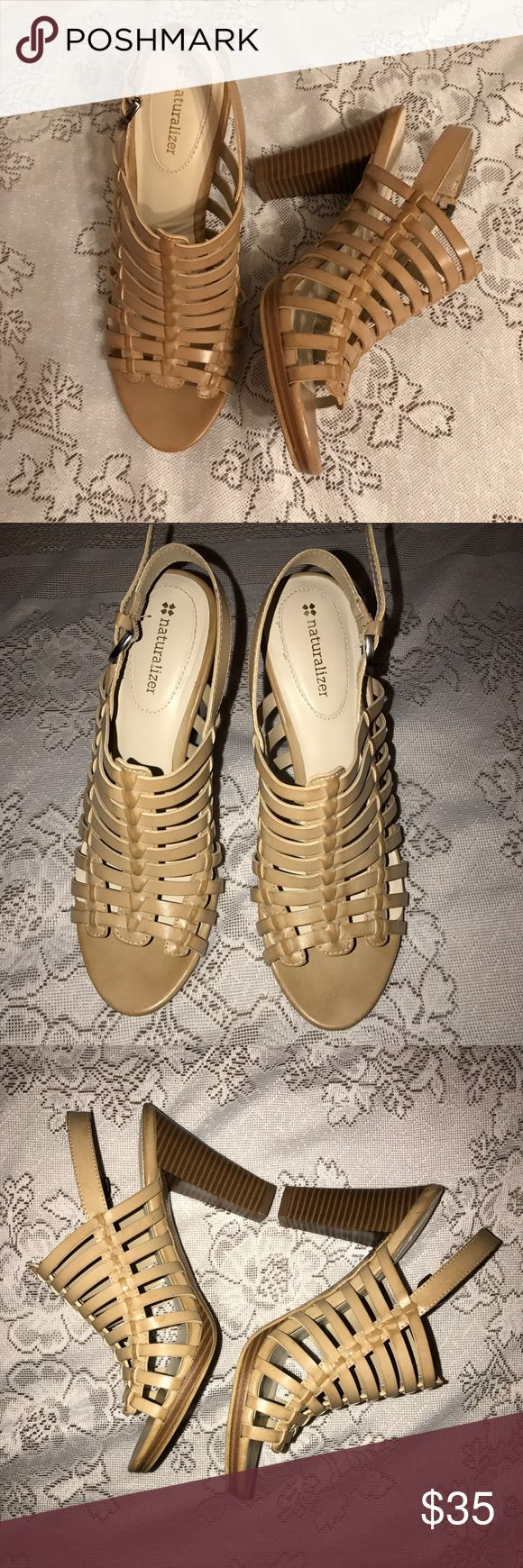 Naturalizer Tan Cream Heels Sandals Size 7.5 Back strap heels. Beautiful and comfortable shoes. I bought it here but the heels are too high so I'm reselling them. These shoes are in great shape. Naturalizer Shoes Heels