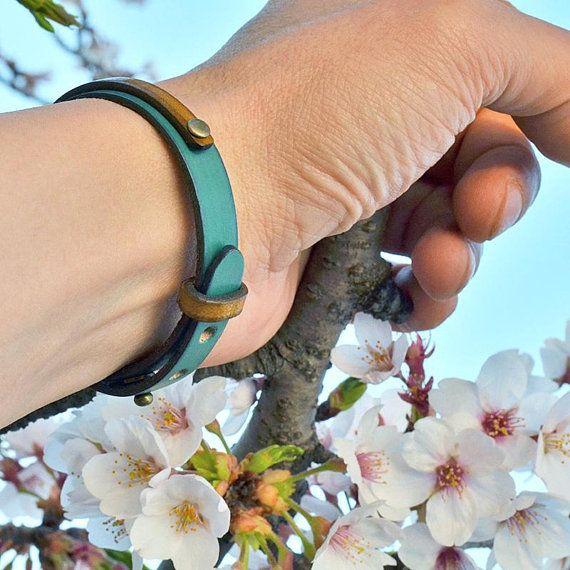 Leather bracelet. Japanese jewelry. Men. Gift. Blue. Mens. Womens. Minimalist. Unique. Birthday gift. Made in Japan. Japanese clothing