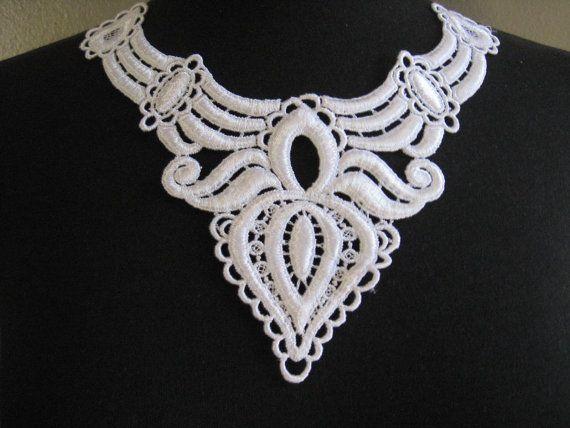 White  Venise lace applique lace appliques by Threads2Trends, $3.75