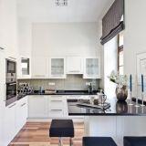 Modern white kitchen with little island, built-in top cupboard, frame doors, NorKisz