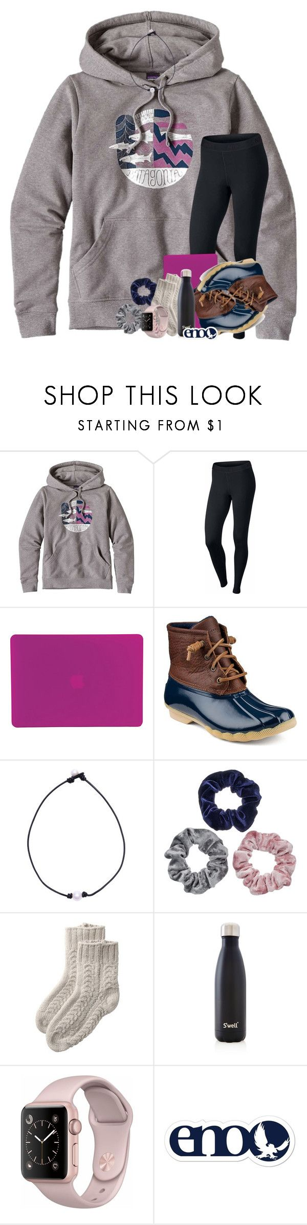 """11/18/17"" by jeh-shev ❤ liked on Polyvore featuring Patagonia, NIKE, Tucano, Sperry, Mudd and S'well"