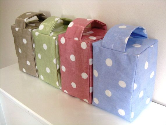 Door Stops Oil Cloth Polka Dot Pink Blue Green by CrabtreeLaneShop, $14.00