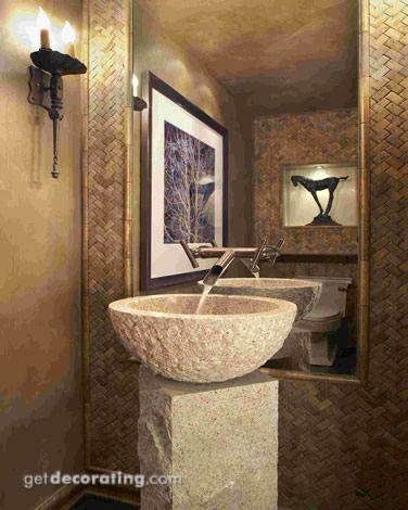 A beautiful alternative to a pedestal sink. GetDecorating.com