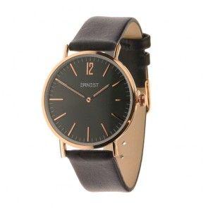 Minimalistisch horloge met rosé kast en zwarte band
