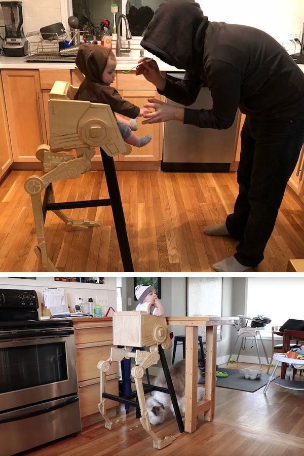 Diy Dad Builds His Son A Wooden Highchair Modeled After A Star Wars At St Star Wars Furniture Star Wars Nursery Star Wars Diy
