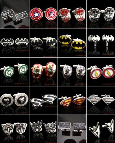 10 Pair Superhero Cufflinks Mens Shirt Cuff links Wedding Birthday Party High Quality WHOLESALE Freeshipping Styles Your Choice-in Tie Clips...