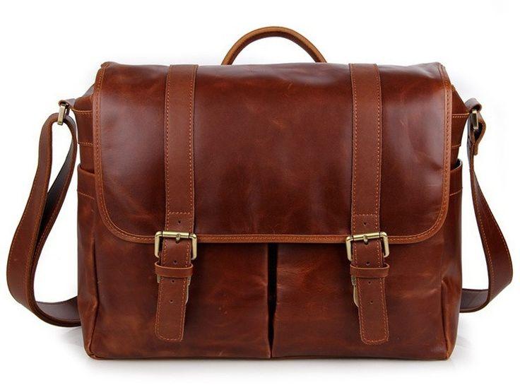 Brown Leather Messenger Bag - Removable Camera Insert